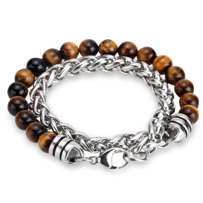 Ivory Soho Liam Tiger Eye Stone Beaded Men's Bracelet Stainless Steel Chain
