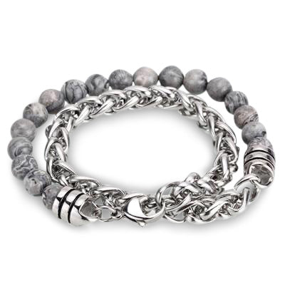 Ivory Soho Liam Gray Map Stone Beaded Men's Bracelet Stainless Steel Chain