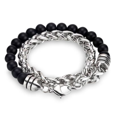 Ivory Soho Liam Matte Black Onyx Stone Beaded Men's Bracelet Stainless Steel Chain