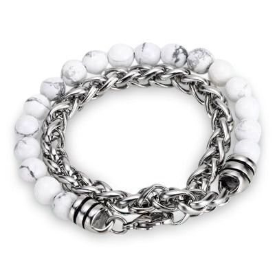 Ivory Soho Liam White Howlite Stone Beaded Men's Bracelet Stainless Steel Chain