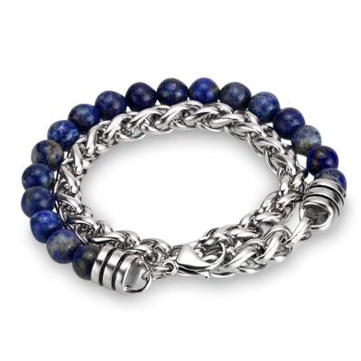 Ivory Soho Liam Lapis Lazuli Stone Beaded Men's Bracelet Stainless Steel Chain