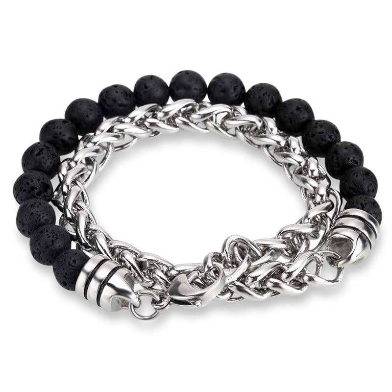 Ivory Soho Liam Lava Stone Beaded Men's Bracelet Stainless Steel Chain