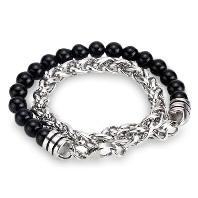 Ivory Soho Liam Black Onyx Stone Beaded Men's Bracelet Stainless Steel Chain