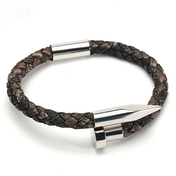 Ivory Soho Tribeca 78 Silver Vintage Braided Leather Bracelet