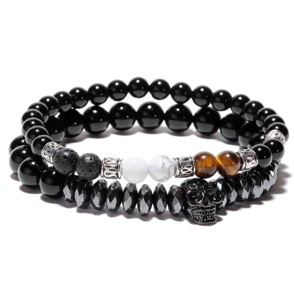 Ivory Soho Equinox Skull Set Beaded Bracelet