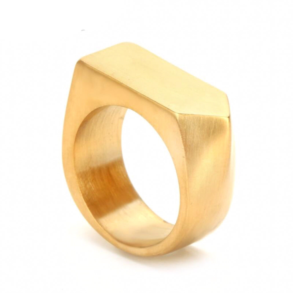 Ivory Soho Jett Stainless Steel Ring Gold