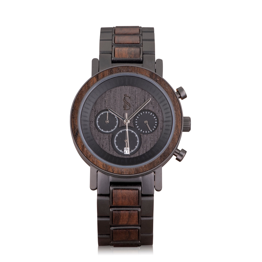 Ivory Soho Hampton Chronograph Wood Steel Watch