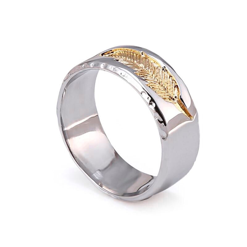 Ivory Soho Rasmus Feather Engraved Stainless Steel Ring