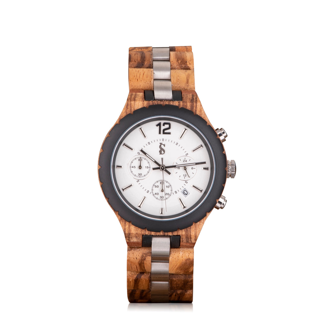 Ivory Soho Austin Wood Steel Chronograph Watch