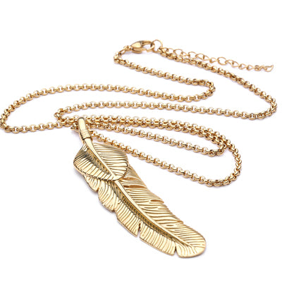 Ivory Soho Ekon Men's Feather Stainless Steel Necklace