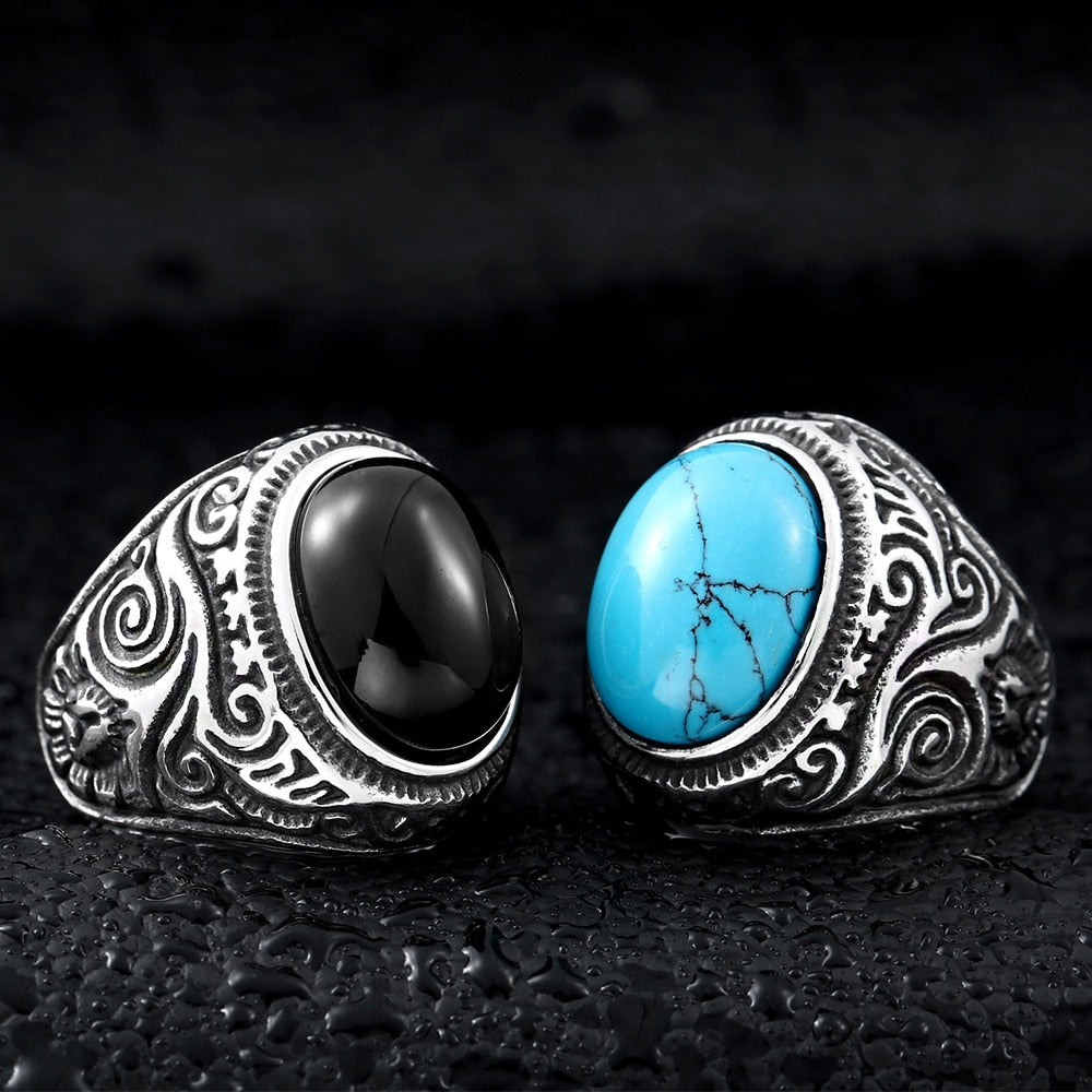Ivory Soho Adonis Stainless Steel Turquoise Ring