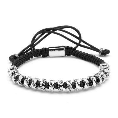 Luxurious macrame bracelet with silver plated copper and micro inlay black zircons.