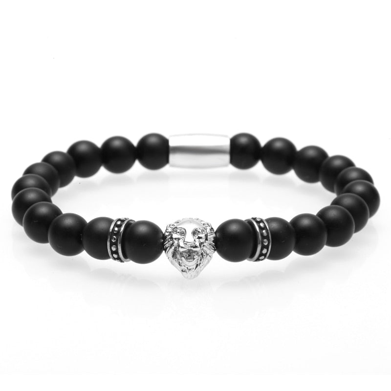Ivory Soho Yves Onyx Lion Head Beaded Bracelet