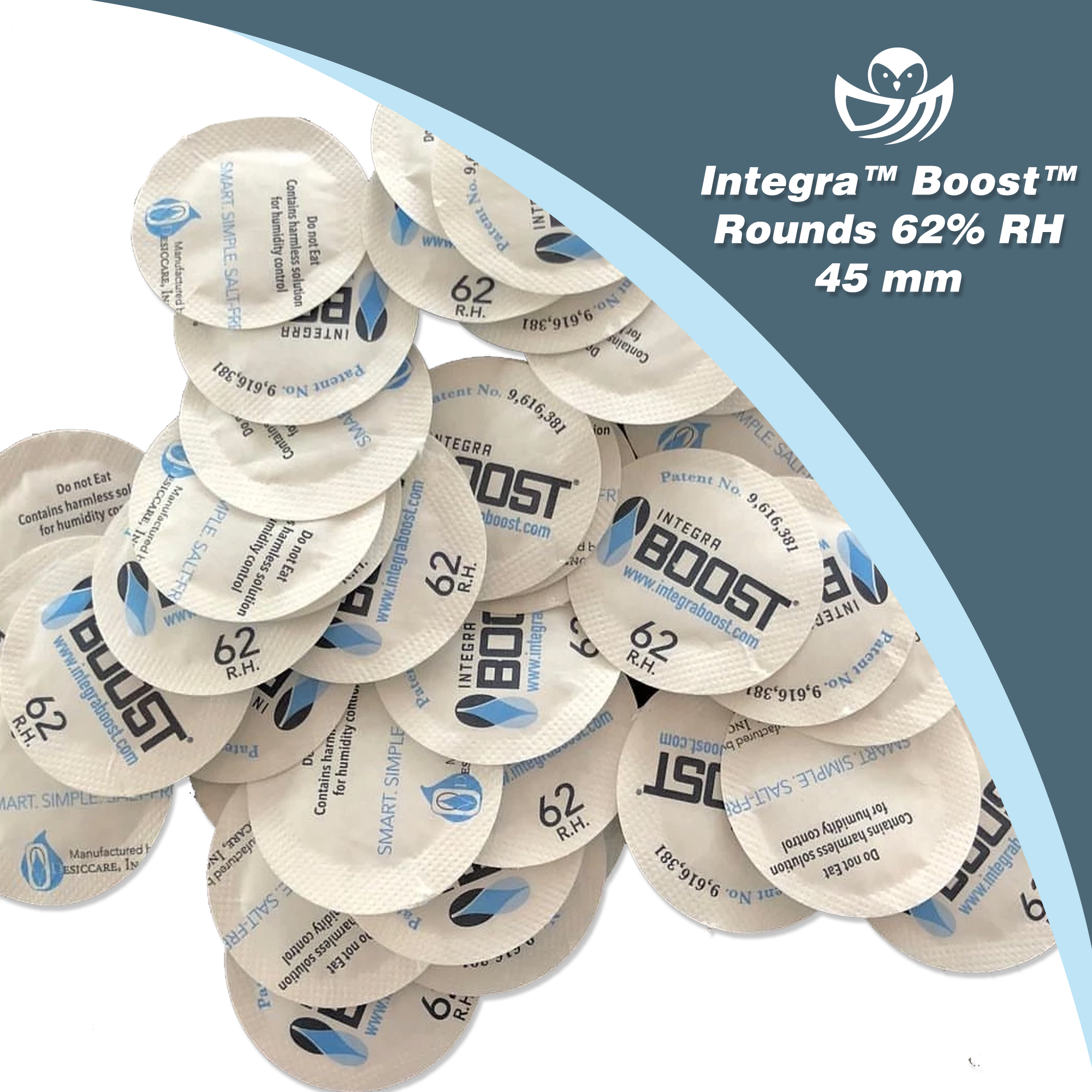 Integra Boost Round Packs 45mm, 62% R.H. - 3500 count