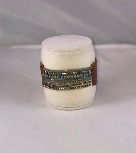 Beaded Leather Bracelet with Magnetic Clasp