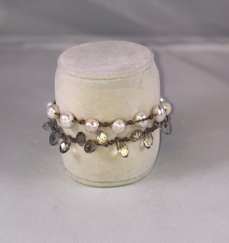 White Pearl and Crystal Leather Bracelet