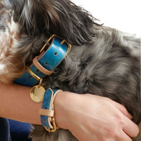 Turquoise Marble - Hand-painted Leather Collar With Matching Bracelet