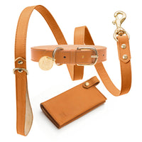 Luxury designer dog collar sets - natural brown
