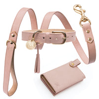Millennial Pastel Pink Nude - luxury designer dog collar set