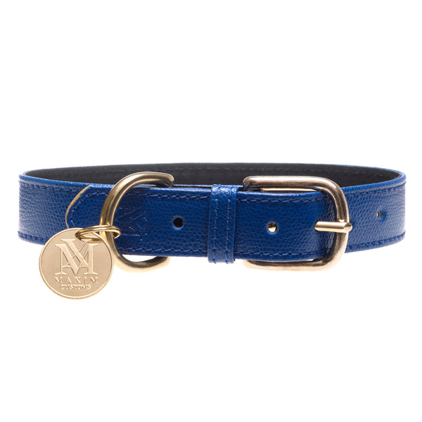 Blue designer dog collar with pet ID
