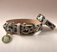 Animal print dog collar and bracelet