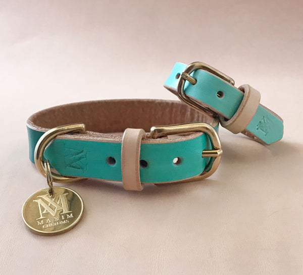 Emerald Green Ombre - Hand-painted Leather Collar With Matching Bracelet