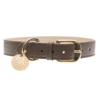 Brown designer dog collar with pet ID