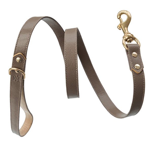 Handmade, leather luxury grey-brown dog leash