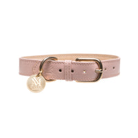 Luxury designer dog collar - Pastel Pink Nude