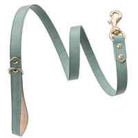 Handmade, leather luxury pastel green dog leash