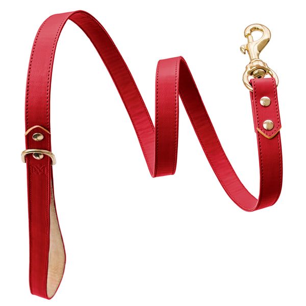 Handmade, leather luxury red dog leash