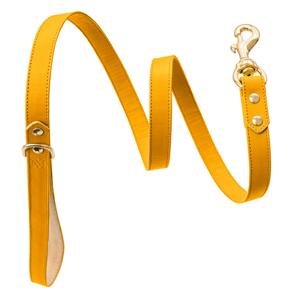 Handmade, leather luxury yellow dog leash