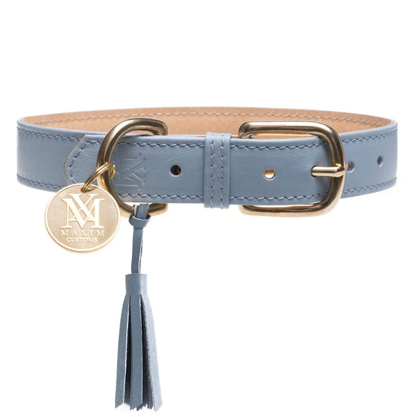 Pastel blue dog collar - Luxury Italian Leather