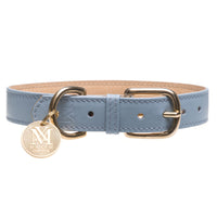 Luxury pastel blue dog collar - Italian leather