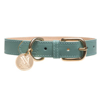 Pastel green leather designer dog collars