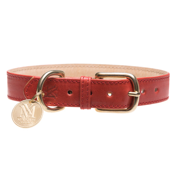 Red dog collar with pet ID