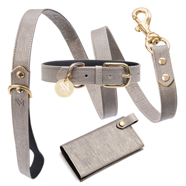 Elegant silver grey designer dog collar set