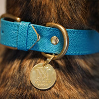 Leather dog collar with pet ID