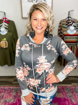 Charcoal Floral Cuff Hoodie