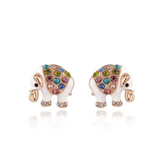 Colorful Crystal Elephant Earrings