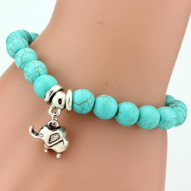 Turquoise and Silver Elephant Charm Bracelet