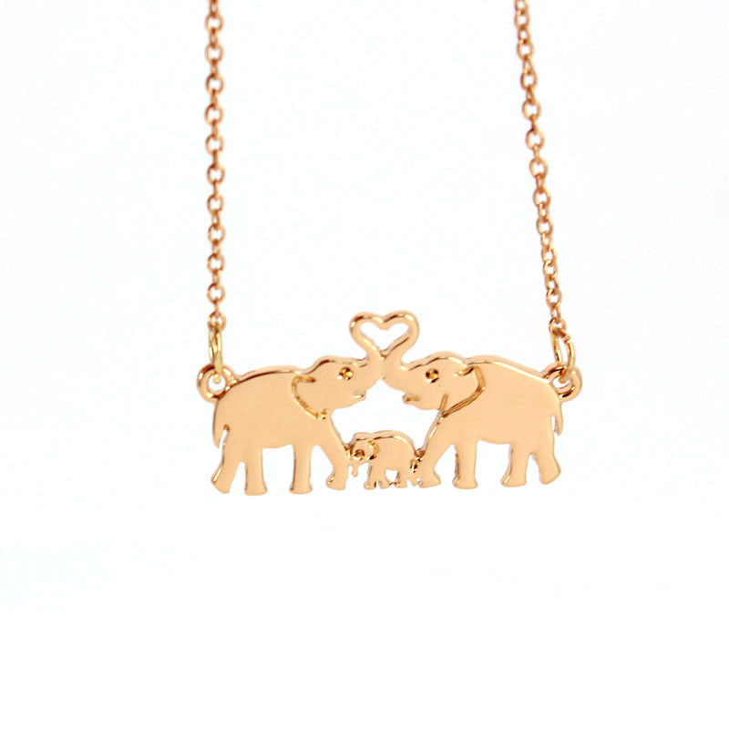 Elephant Family with Baby Pendant Necklace