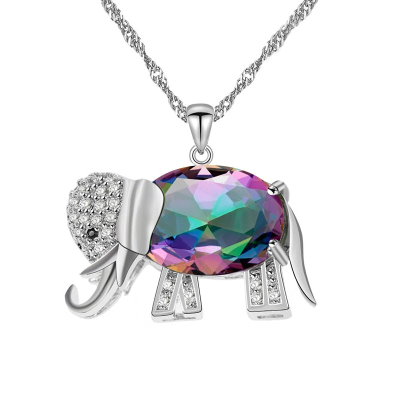 Rainbow Crystal Elephant Pendant Necklace