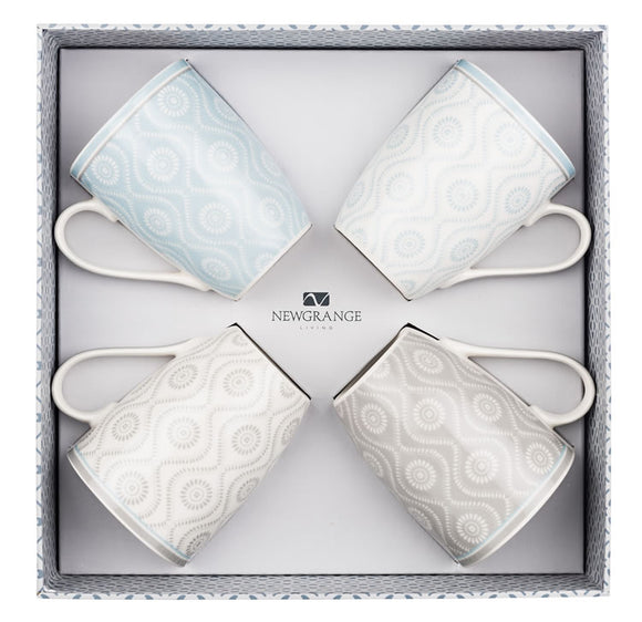Newgrange Ella Bone China Mugs x 4 (Gry Blu)