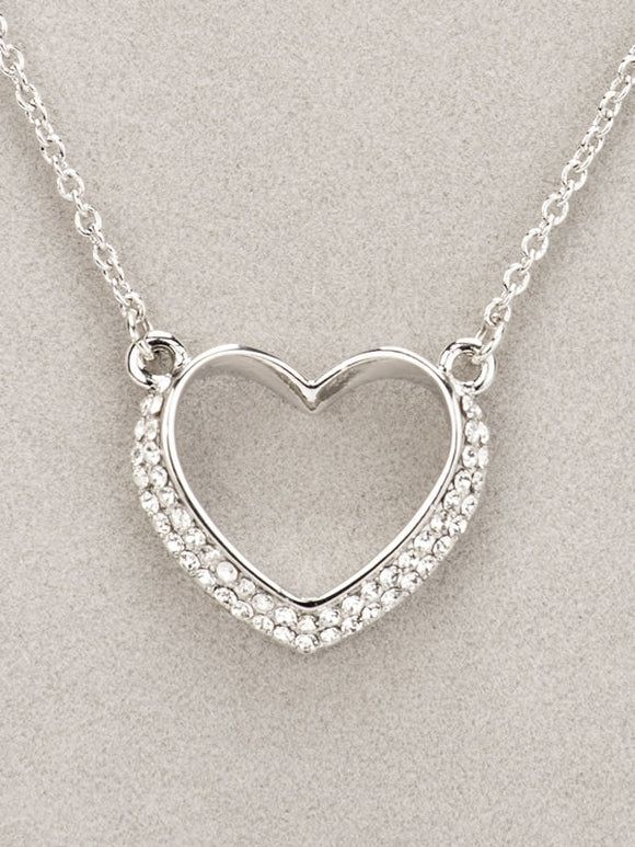Newgrange - Silver Diamanté Heart Necklace