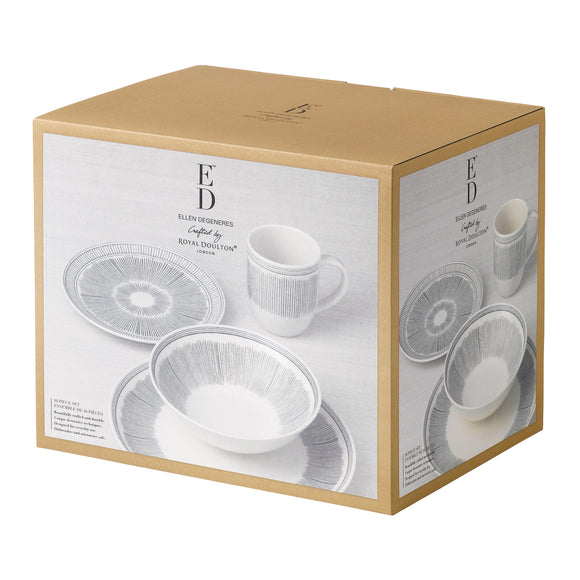 16 Piece Dinner Set - Charcoal Grey Lines