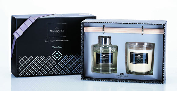 Newgrange - Luxury Candle & Diffuser Set - Fresh Linen Or Summer Garden