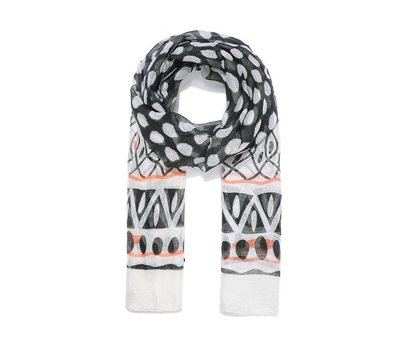 Black dot print scarf