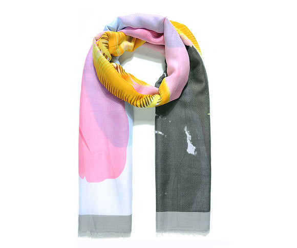 Grey large placement feather print scarf