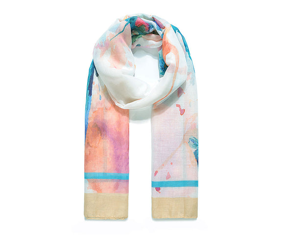 Caramel watercolour butterfly print scarf